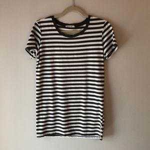 NWOT Olive and Ivory Striped Tee